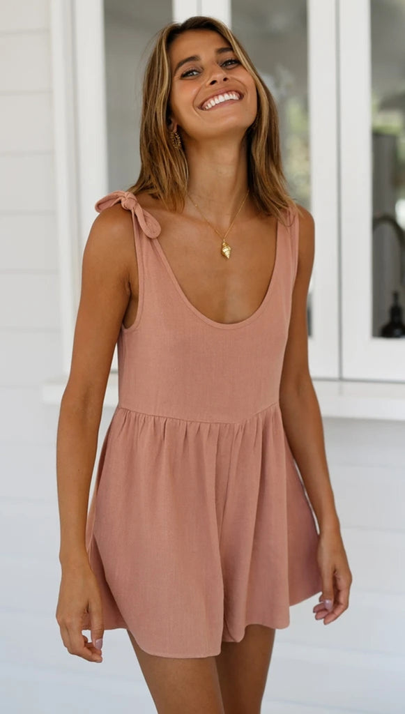Dusty Pink Shoulde-Tie Rompers