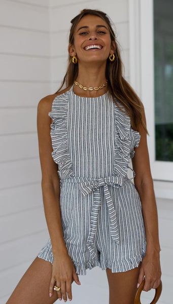 Navy Striped Backless Rompers