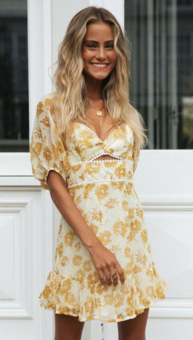 Yellow Floral Pom-Pom Flare Dress