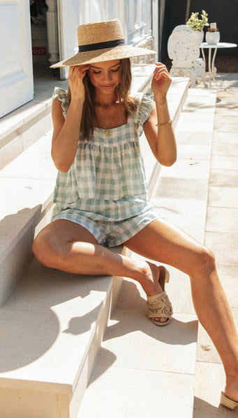 Green Plaid Tank and Shorts Matching Sets