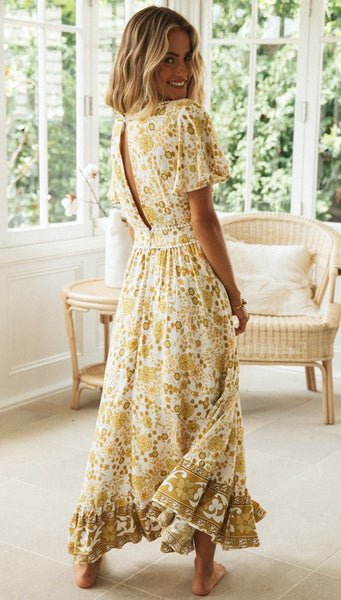 Yellow Floral Bohemia V-Neck Dress