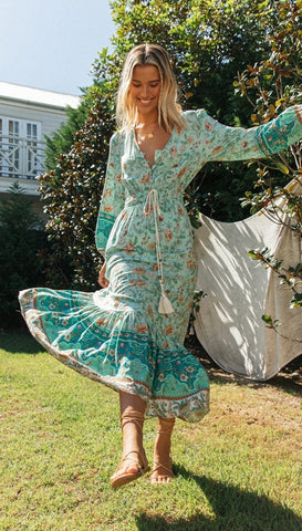 Aqua Boho Floral Long Sleeves Dress