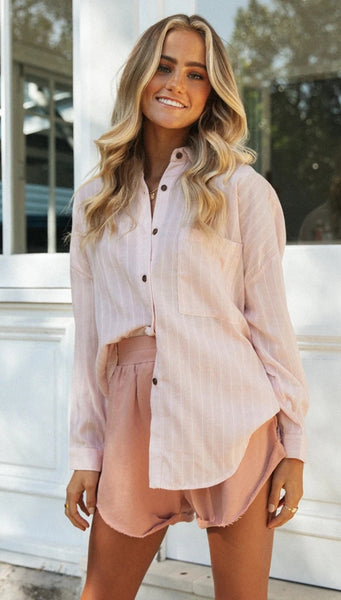 Pink Pinstripe Button Down Shirt