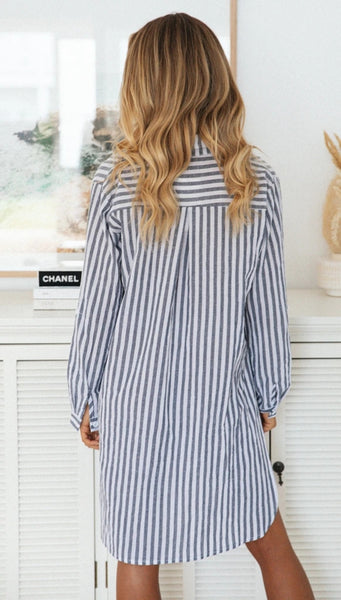 Blue Striped Button Down Side Slits Shirt