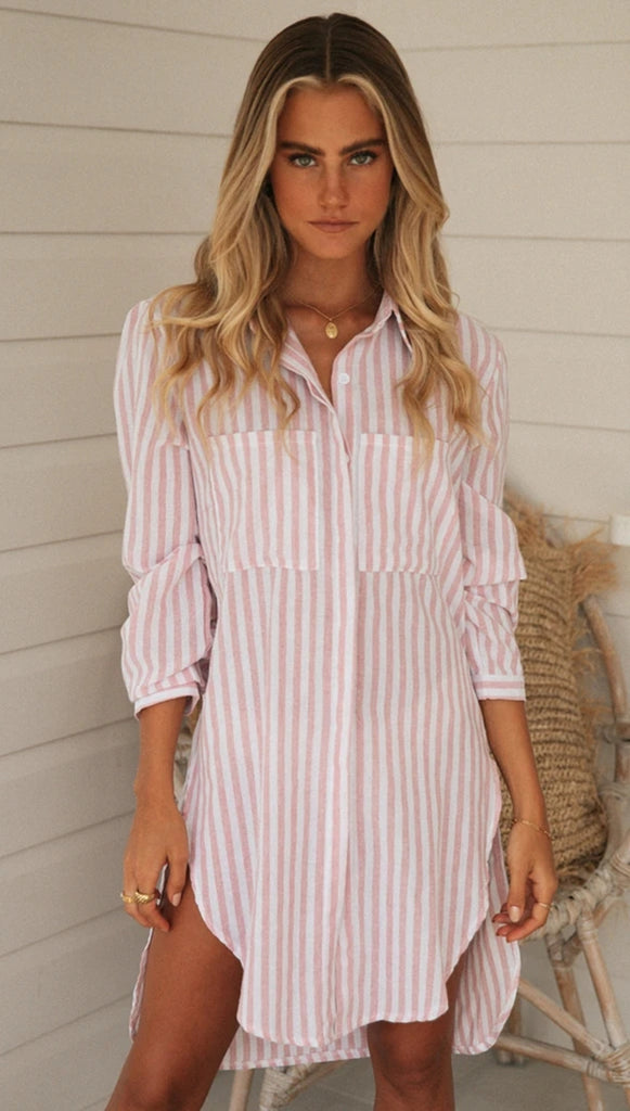 Pink Striped Button Down Side Slits Shirt