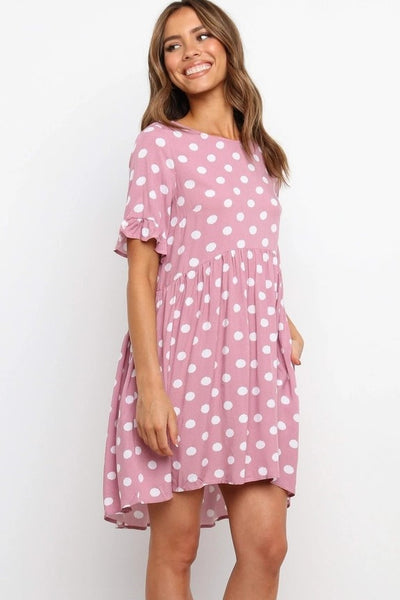 Pink Polka Dot Skater Dress