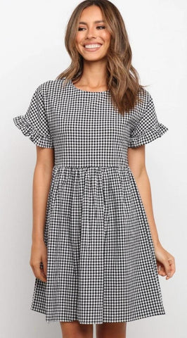 Black Plaid Pleated Dress