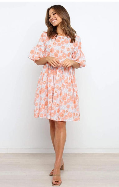 Coral Floral Babydoll Dress