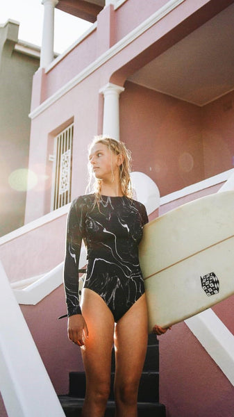 Black Fluid Print Long Sleeve Surf Swimsuit