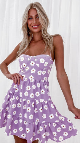 Purple Floral Slip Dress
