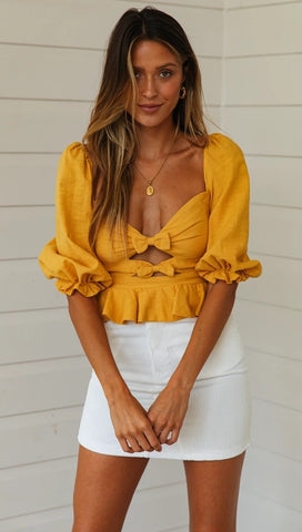 Yellow Double-Bowknot Crop Top