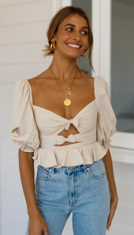 Beige Double-Bowknot Crop Top