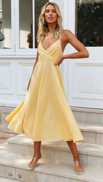 Yellow Surplice Backless Bowknot Dress