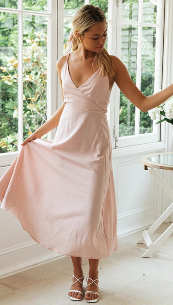 Baby Pink Surplice Backless Bowknot Dress