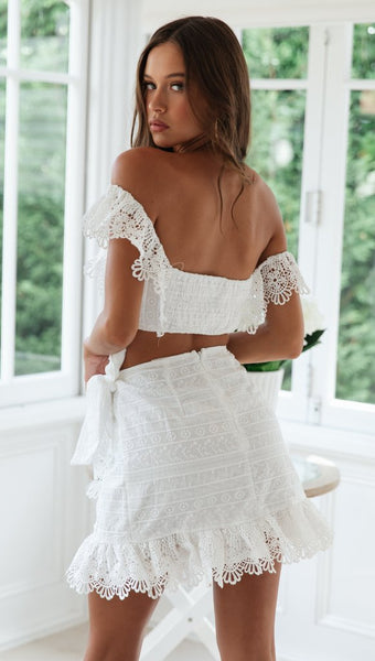 White Crochet Lace Top and Skirt Matching Sets