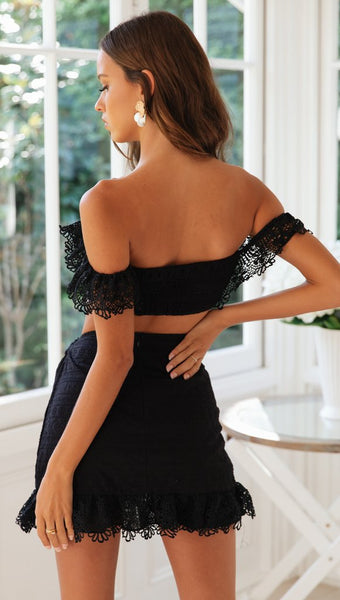 Black Crochet Lace Top and Skirt Matching Sets