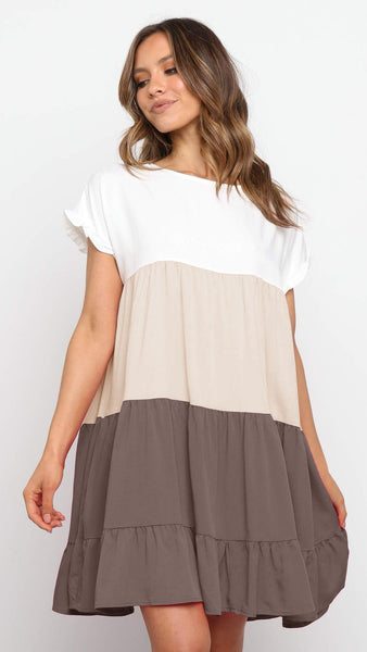 Brown Color Block Babydoll Dress