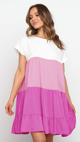Hot Pink Color Block Babydoll Dress