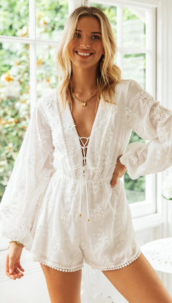 White Crochet Lace Long Sleeves Rompers