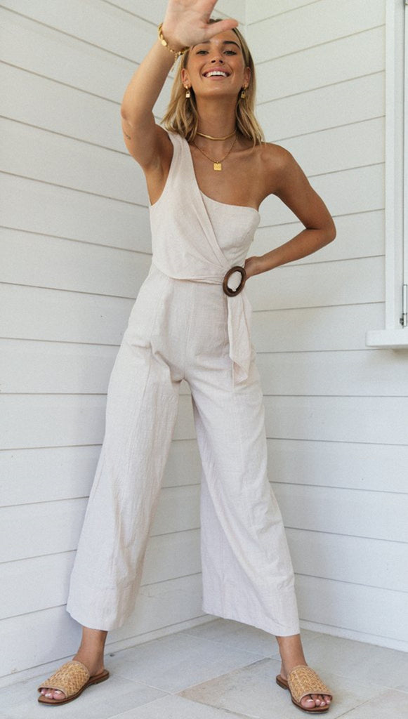 Beige One-Shoulder Jumpsuit
