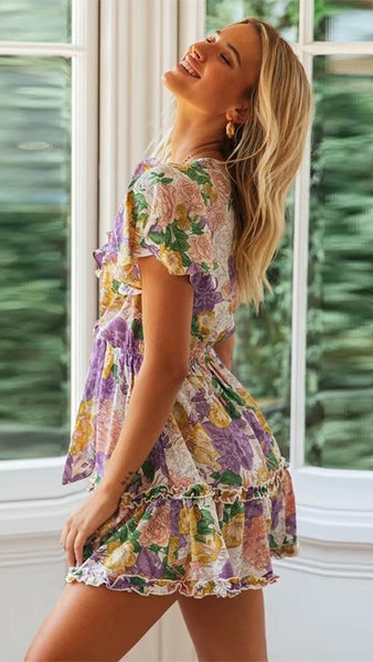Purple Floral Front Knot Dress