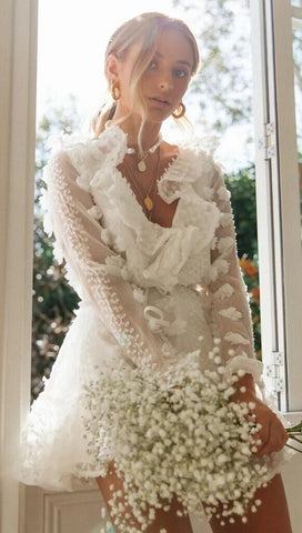 White Lace Sheer Sleeves Dress