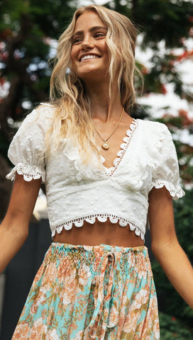 Scalloped Edge White Lace Crop Top