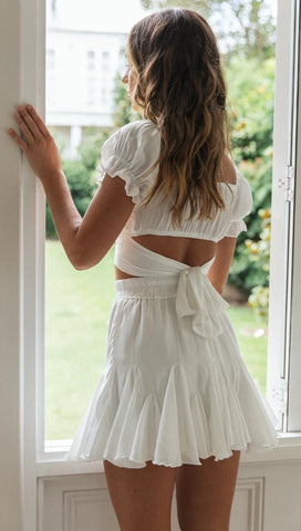 White Bowtie Back Crop Top