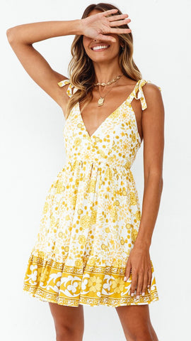 Yellow Floral Shoulder-Tie Backless Dress
