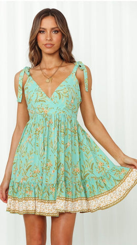 Mint Foliage Shoulder-Tie Backless Dress