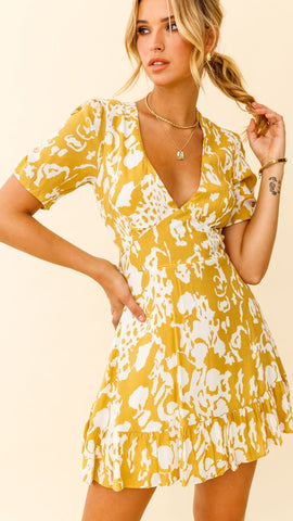 Mustard Stencil Print Ruched Sleeve Tea Dress