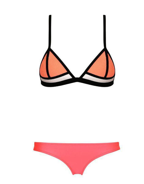 Orange Pink Color Block Triangle Bikini Sets