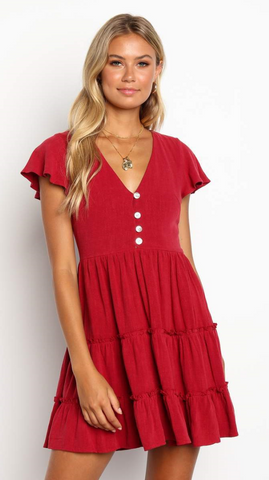 Red Button Down Linen Dress