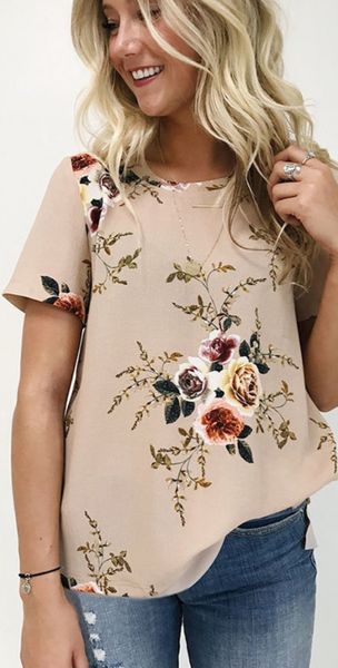 Floral Chiffon Short Sleeve Top