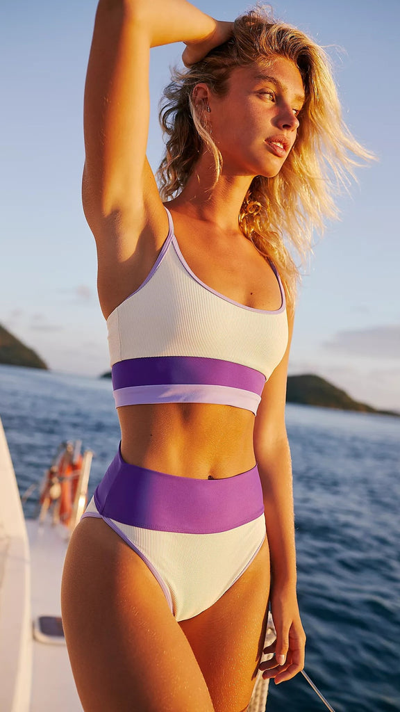 Purple Color Block Sports Tank Bikini
