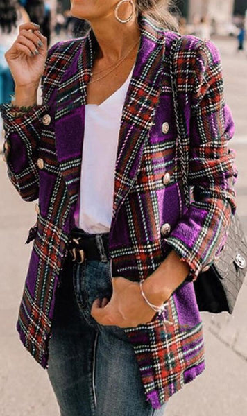 Purple Tartan Plaid Wool Coat