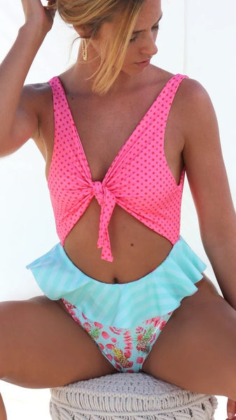Hot Pink Frill Knot Cutout Swimsuit
