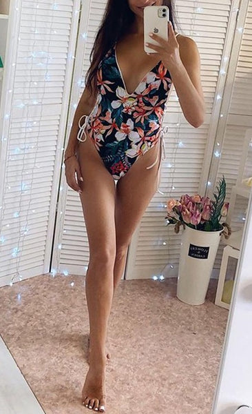 Lemon Floral Print Lace Up One Piece