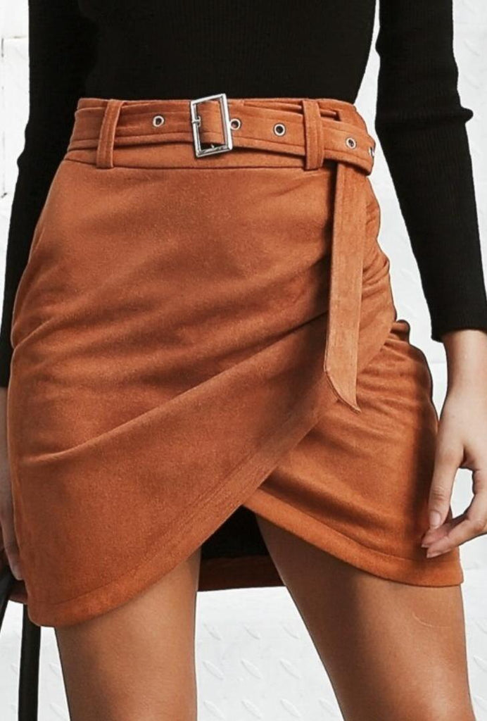 Camel Faux Suede Wrap Mini Skirt