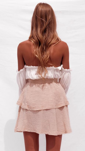 White Off Shoulder Bandeau Top