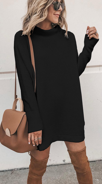White Long Sleeve Knit Shift Dress