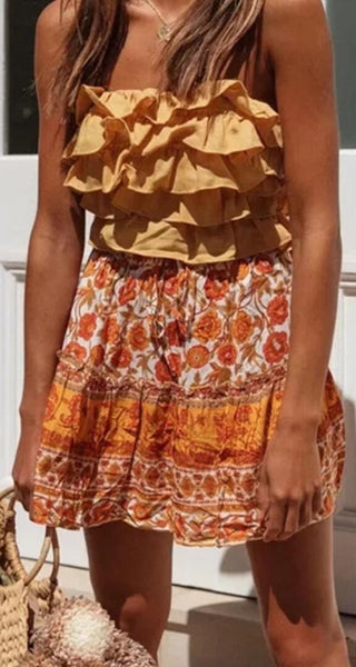 Orange Floral Withdraw Mini Skirt