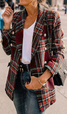 Burgundy Tartan Plaid Wool Coat