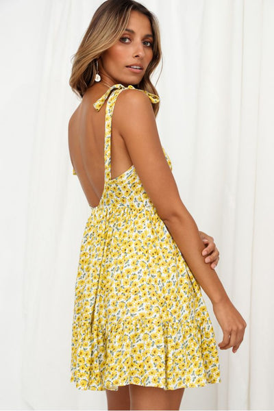 Sunflower Print Shoulder-Tie Slip Dress
