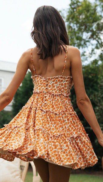 Orange Floral V Neckline Slip Dress