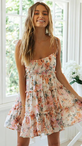 Pink Rose Floral Slip Dress