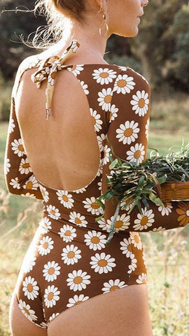 Sunflower Print Backless Surf Swimsuit