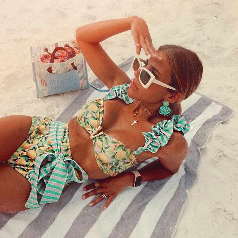 Lime Print Ruffled Shoulder Bikini Sets