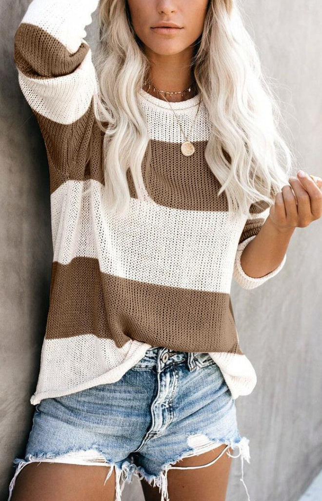 Khaki White Stripe Knit Sweater