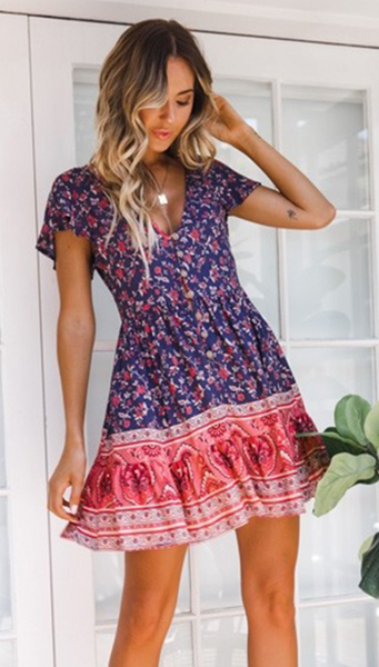 Navy Red Floral Skater Dress